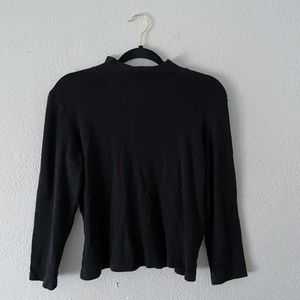 Black Mock-Neck Long-Sleeve